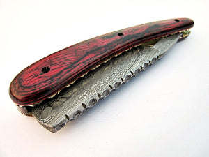 RZ-2085, (New) Custom Handmade Damascus Steel Straight Razor - Beautiful File Work on Red Doller Sheet Handle