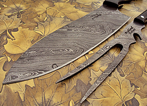 CF-104, Custom Handmade Damascus Steel 12 Inches Chef Knife Set – Solid Jean Micarta Knife Handle and Bull Horn Fork Handle