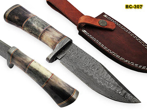 BC 307 Custom Handmade Damascus 09 Inches Steel Knife- Stunning Stained Bone Handles