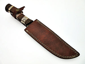 REG-HKU-1142, Custom Handmade 12.00 Inches Damascus Steel Bowie Knife – Gorgeous Brass Work on Rose Wood Handle