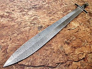 Sw-320, Handmade Damascus Steel 31 Inches Sword - Three Tone G-10 Micarta Handle with Damascus Steel Guard