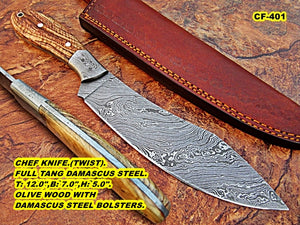 CF - 401, Custom Handmade Damascus Steel Chef Knife - Beautiful Olive Wood Handle with Damascus Steel Bolster