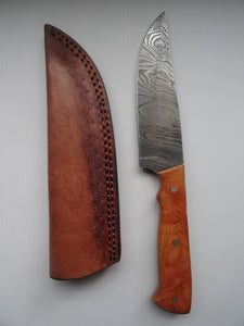 "Stunning Handmade Damascus Steel 9.5"" Inches Straight Knife With Brown Bone Handle - (Item Code : BK-21271)"