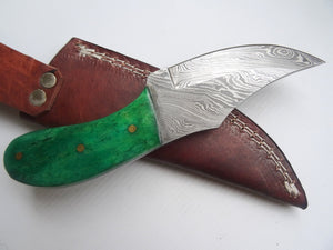 "Stunning Handmade Damascus Steel 7"" Inches Knife With Green Coloured Bone Handle - (Item Code : BK 21372)"