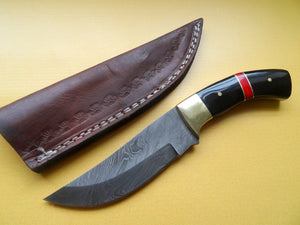 "Stunning Handmade Damascus Steel 8.25"" Inches Knife With Bull Horn and Wood Handle - (Item Code : BK 2125)"