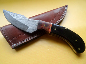 "Stunning Handmade Damascus Steel 8.25"" Inches Knife With Bull Horn and Wood Handle - (Item Code : BK 2125"