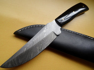 "Stunning Handmade Damascus Steel 9"" Inches Knife With Bull Horn Handle - (Item Code : Z- 224)"