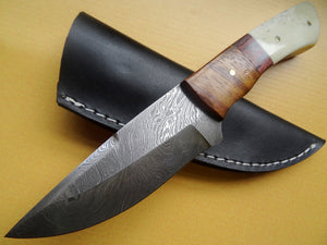 "Stunning Handmade Damascus Steel 9"" Inches Knife Plain Bone and Wood Handle - (Item Code : Z- 225)"