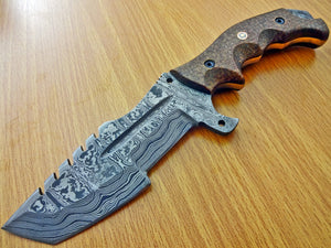TR-301 Custom Handmade Damascus Steel Tracker Knife- Stunning Micarta Handle