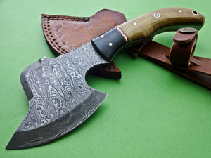 Ax-H-001,Custom Handmade Damascus Steel 9 Inches Axe - Exotic Wood and Bull Horn Handle