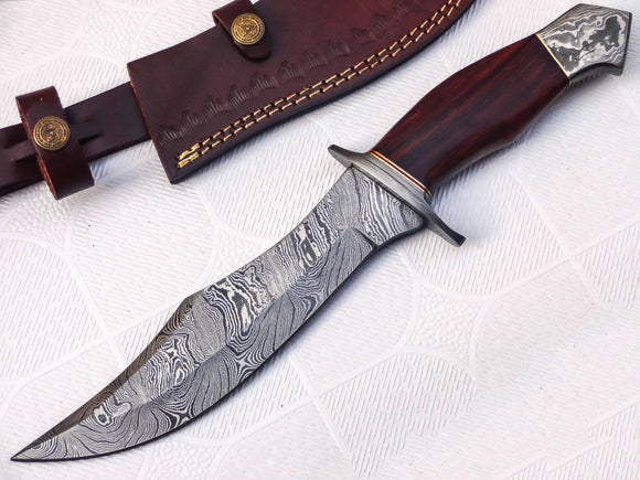 HK-99 Handmade Damascus Steel 13.00 Inches Hunting Knife - Rose Wood with Damascus Steel Guards Handle