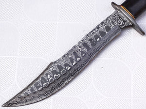 REG 1314- B- Handmade Damascus Steel 15.25 Inches Bowie Knife - Solid Marindi Wood/Bone Handle