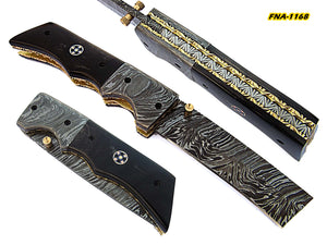 FNA-1168, Custom Handmade Damascus Steel 8.4 Inches Tanto Style Folding Knife - Beautiful Buffalo Horn Handle with Damascus Steel Bolsters