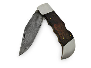 RP-53 Custom Handmade Slim Damascus Steel Folding Knife- Wallnut Wood Handle