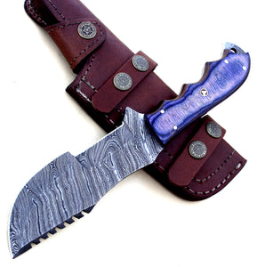TR-2152, Custom Handmade DEMASCUS STELL Full Tang Tracker Knife –BEUTIFULL Dollar Sheath Handle