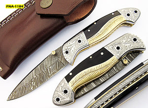 FNA-1184, Custom Handmade Damascus Steel 7.2 Inches Folding Knife - Gorgeous Hand Engraving on Bull Horn and Brass Handle