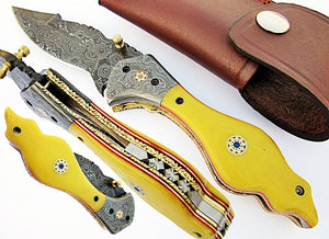 FA-1114, Custom Handmade Damascus Steel Folding Knife - Solid (G-10) Micarta & Two Muzike Pins Handle with Damascus Steel Bolster, Amazing File Work,