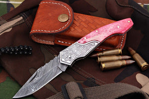 FN-04, Custom Handmade Damascus Steel 7.4 Inches Folding Knife - Beautiful Colored Camel Bone Handle with Damascus Steel Bolster