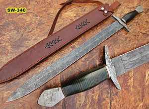 Sw-340, Handmade Damascus Steel 31.00 Inches Sword - Beautiful Two Tone Micarta Handle with Damascus Steel Guard