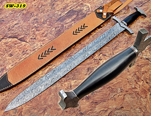 Sw-319, Handmade Damascus Steel 30 Inches Sword - Solid Black G-10 Micarta Handle with Damascus Steel Guard