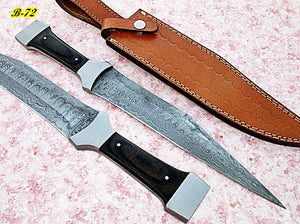 REG-B-72, Handmade Damascus Steel 14.6 inches Hunting Knife - Beautiful Two Tone Micarta Handle with Stainless Steel Bolsters