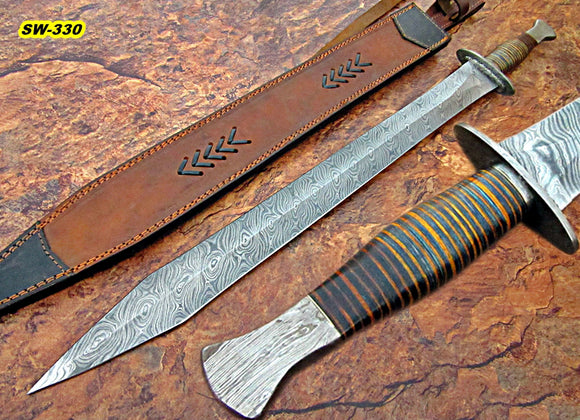 Sw-330, Handmade Damascus Steel 31 Inches Sword - Solid Micarta Handle with Damascus Steel Guard