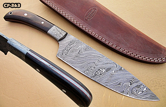 CF - 363, Custom Handmade Damascus Steel Chef Knife - Black Brown Micarta Handle with Beautiful Brass Linning