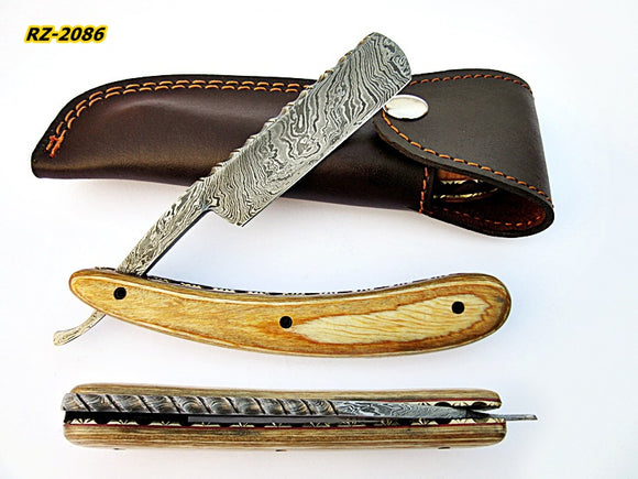RZ-2086 (New), Custom Handmade Damascus Steel Straight Razor - Beautiful File Work on Doller Sheet Handle