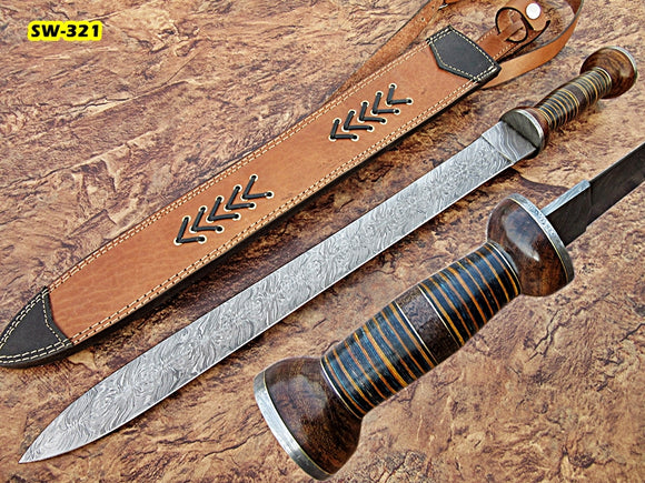 Sw-321, Handmade Damascus Steel 24.3 Inches Sword - Three Tone Micarta & Rose Wood Handle with Damascus Steel Guard