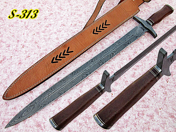 Sw-313 B, Handmade Damascus Steel 28 Inches Sword - Best Quality Marindi Wood Handle with Damascus Steel Guard