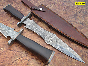 RAM-S-1120, Handmade Damascus Steel 16 Inches Dagger/Hunting Knife - Solid Rose Wood Handle