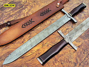 Sw-334, Handmade Damascus Steel 25.4 Inches Sword - Brown Micarta Handle with Damascus Steel Guard