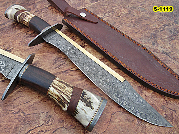 REG-S-1119, Custom Handmade Damascus Steel 17.00 Inches Hunting Knife - Best Quality Rose Wood and Stag Horn Handle with Damascus Steel Guard