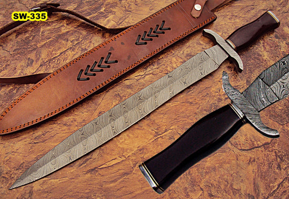 Sw-335, Handmade Damascus Steel 24.4 Inches Sword - Brown Micarta Handle with Damascus Steel Guard
