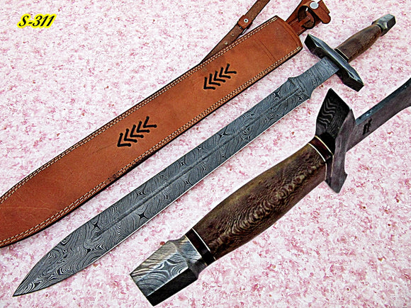 Sw-311 B, Handmade Damascus Steel 30 Inches Sword - Solid Channar Wood Handle with Damascus Steel Guard