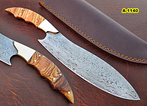 CFZ - 1140, Custom Handmade Damascus Steel 12.40 Inches Chef Knife - Beautiful Burrel Wood Handle with Brass Bolster