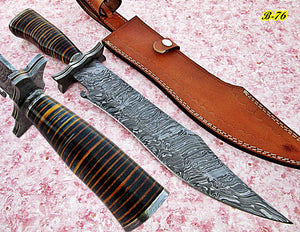 REG-B-76, Handmade Damascus Steel 17 inches Hunting Knife - Beautiful Three Tone Micarta Handle with Damascus Steel Guard