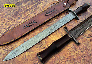 Sw-336, Handmade Damascus Steel 24.4 Inches Sword - Perfect Grip Brown Micarta Handle with Damascus Steel Guard