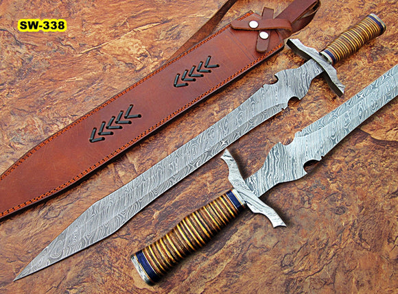 Sw-338, Handmade Damascus Steel 27.4 Inches Sword - Beautiful Colored Micarta Handle with Damascus Steel Guard