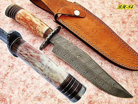 REG-BH-84, Handmade Damascus Steel 14.00 Inches Bowie Knife - Exotic Rose Wood and Colored Bone Handle with Damascus Steel Guard