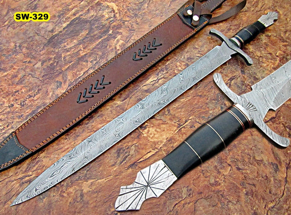 Sw-329, Handmade Damascus Steel 29.4 Inches Sword - Solid Black Micarta Handle with Damascus Steel Guard