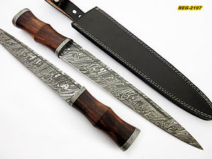 REG-212, Custom Handmade Damascus Steel 17 Inches Scottish  Dirk Blade Knife