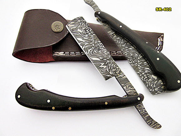 RZ-402, Custom Handmade Damascus Steel Straight Razor - Beautiful File Work on Two Tone Micarta Handle