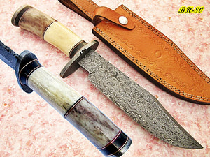 REG-BH-80, Handmade Damascus Steel 13.00 Inches Bowie Knife - Colored Bone Handle with Damascus Steel Guard