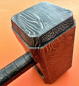 PLK-555, Handmade Full Damascus Steel Hammer – Great Piece of Art – Fully Functional