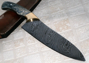 RK 237 Style Damascus Steel Chef Knife – Brass Bolsters & Colored Bone Handle