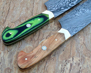 Countryside 02 Style Chef Knife Pair - Micarta & Olive Wood Handle