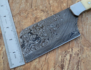 RT-09, Handmade Damascus Steel Giant Cleaver Knife – Camel Bone Handle