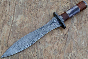 RAM-12, Handmade Damascus Steel Dagger Knife – Stained Bone and Wallnut Wood Handle with Brass & Fiber Spacer