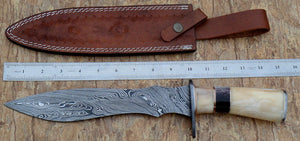 Reg-33 Custom Damascus Steel 15 Inches Bowie Knife- Colored Bone Handle